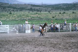 Calf roping event in the 4th of July rodeo (GCCS_CCE018_4)