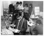 Students eating during a classroom party;