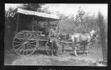 Man with horse-drawn carriage, unknown