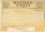 Telegram announcing son James' acceptance to West Point, May 8, 1948;