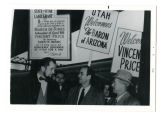 Alvin G. Pack and J. Bracken Lee welcoming Vincent Price for a March of Dimes fundraiser, February...