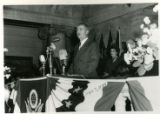 Photograph of Governor J. Bracken Lee giving his inaugural address, Salt Lake City, Utah, January...