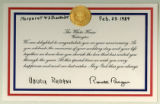 Letter from Nancy and Ronald Reagan to Margaret and J. Bracken Lee congratulating them on their...