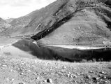 First Dam Reservoir at the mouth of Logan Canyon, Utah, looking southeast, 1920s;
