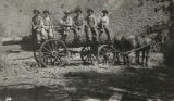 Members of Logan Scout Troop 5 sitting on a large log on a wagon up Logan Canyon, Utah, between...