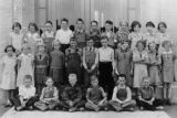 Mendon class of 1937 outside the old schoolhouse