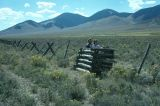 Jack and barbed wire fence, near Goldberg, Idaho, 1977