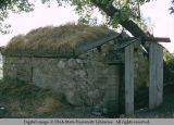 Stone cellar with sod roof, Utah, 1956