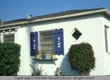 Blue shutters with tulip design, Mar Vista, Los Angeles, California, 1978