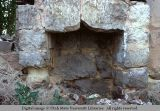 Hearth of a stone house in ruins, Honeyville, Utah, 1970