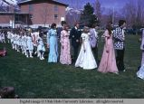 May Day queen, attendants, and dancers, Mendon, Utah, 1975