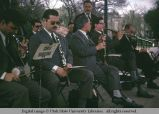 Orchestra tuning up in  the public park, Barcelona, Spain, 1969
