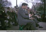 Orchestra playing in the public park, Barcelona, Spain, 1969
