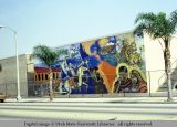 Mural on outside wall of building, California, 1978