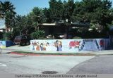 Mural on cinder block fence, Venice, California, 1979