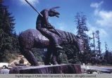 Statue of wounded American Indian on horse, California, 1964