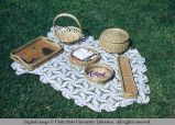 Lace shawl and baskets, Moab, Utah, 1953