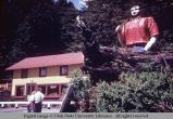 Wooden statue of Paul Bunyan, California, 1964