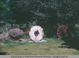 Millstone as decoration, Oakley, Idaho, 1968