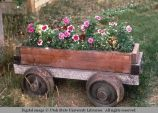Mine car wheels on flower cart