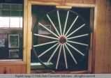 Buggy wheel cafe room divider, Clayton, Idaho, 1967