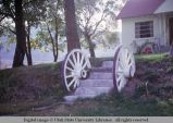 Wagon wheels as step rails, Mendon, Utah, 1964