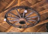 Wagon wheel chandelier, Moab, Utah, 1953