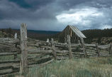 Horse and rider fence, southwestern Colorado, 1970