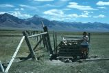 Fence and rock cairn, near Goldberg, Idaho, 1977