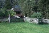 Horse and rider fence, south of Livingston, Montana, 1973