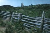 Horse and rider pole fence, near Mancos, Colorado, 1970