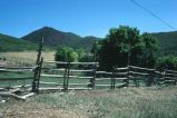 Horse and rider fence, Oakley, Utah, 1977