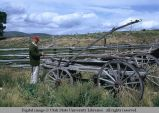 Pole fence and wagon, Oakley, Utah, 1973