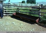 Pole fence and watering trough, Holbrook, Idaho, 1975