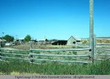 Pole fence around corral, Holbrook, Idaho, 1975