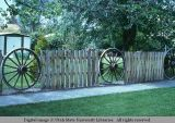 Slab and wagon wheel fence