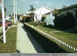 Live hedge and picket fence, Sawtelle, California, 1973