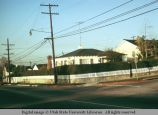 Live hedge and picket fence, Mar Vista, Los Angeles, California, 1973