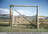 Swinging pole gate, Lima, Montana, 1948