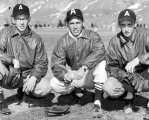 Baseball mentor Ev Faunce with pitchers Ray Hlavaty and Jim Hill, 1950s