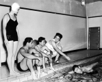 Students at the pool in the Smart Gymnasium, 1950s