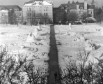 Snow sculptures on the Quad during the Winter Carnival, winter 1953-54