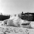Snow sculpture of the Bear Lake Monster at the Winter Carnival