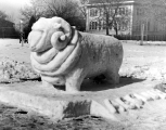 Snow sculpture of a ram, 1950s