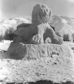 "Snow sculpture of a lion, entitled ""Dandy-Lion""l, 1950s"