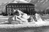 Snow sculpture created by Sigma Kappa, at the Winter Carnival, 1946-47