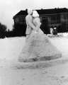Snow sculpture of a man and woman dancing, Winter Carnival, 1941-42