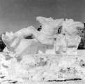 "Snow sculpture entitled ""The Boar Hunt"", Winter Carnival, 1954-55"