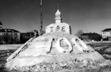 Snow sculpture of Old Main atop the Utah Beehive, Winter Carnival, 1947