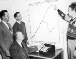 "Four men looking at a chart entitled ""Money Supply and Production"", circa 1947"